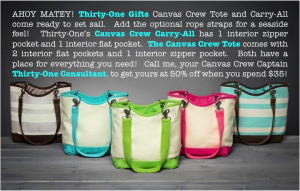 Thirty-One Gifts – March Special – Canvas Crew