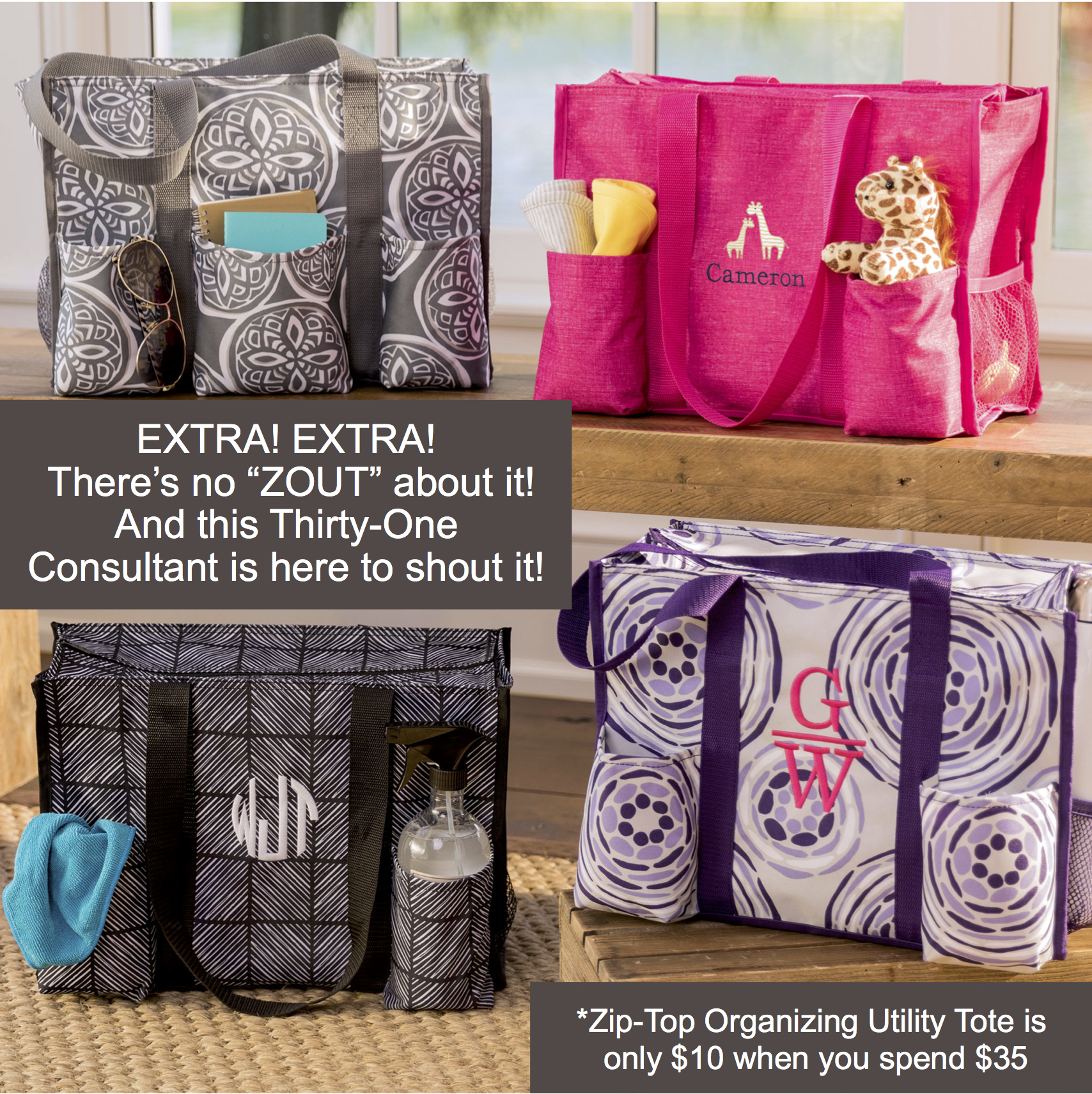 Thirty One Gifts Zip Top Organizing Utility Tote Team Hillenburg