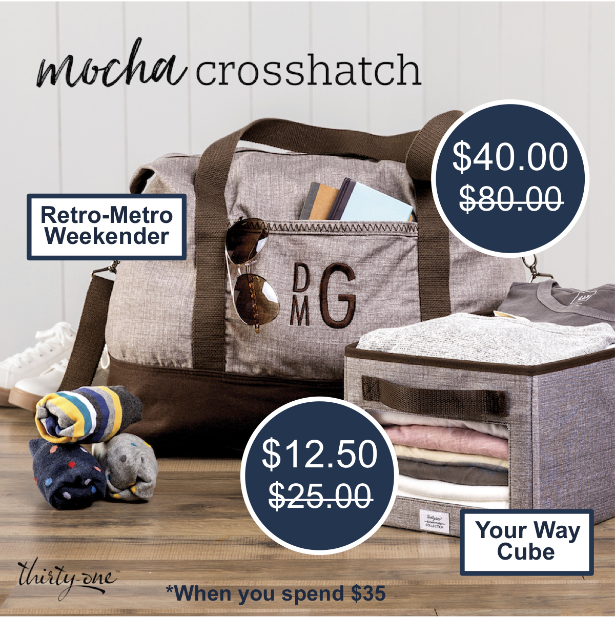 Thirty-One Gifts – Mocha Crosshatch