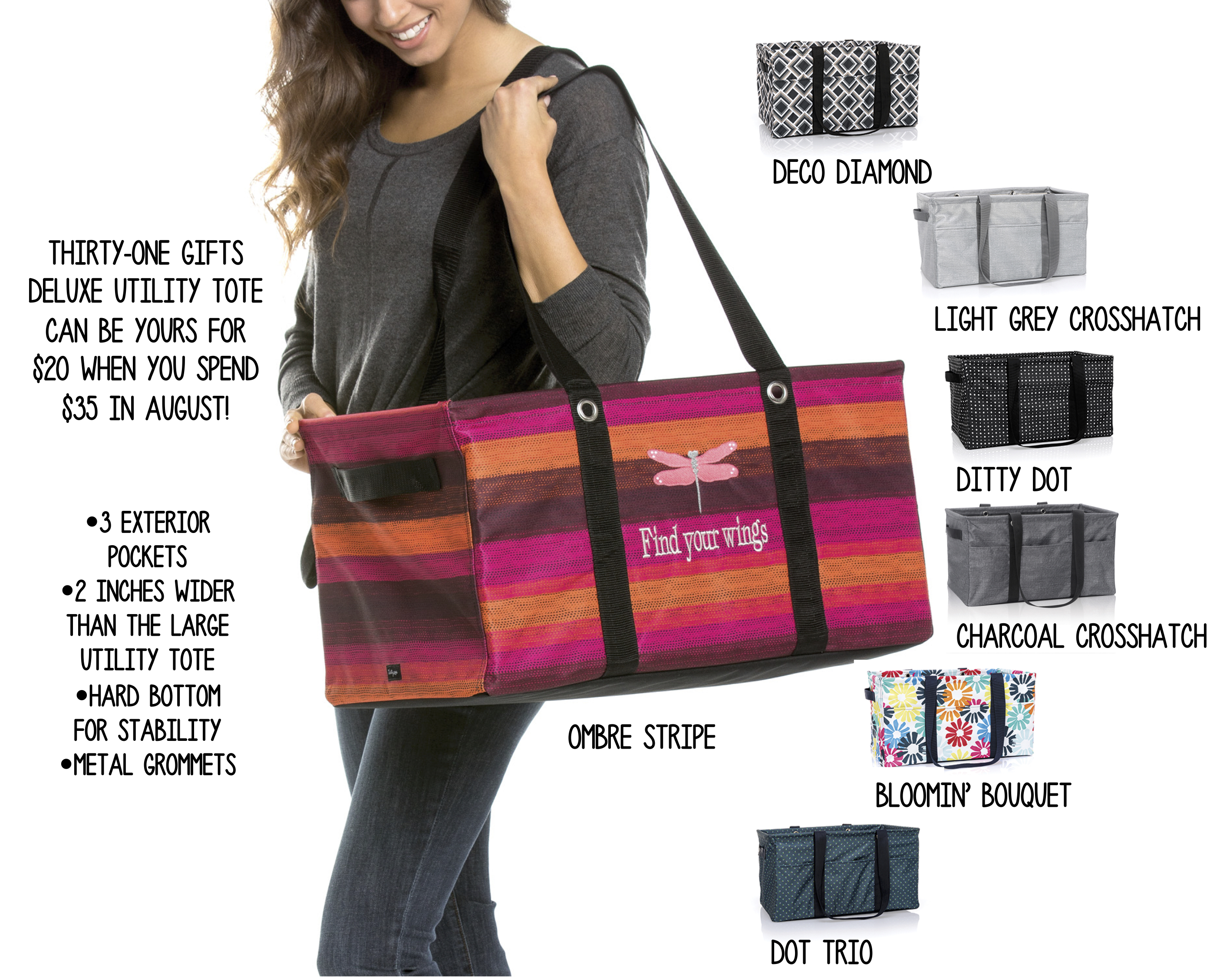 Thirty One Gifts Deluxe Utility Tote Team Hillenburg