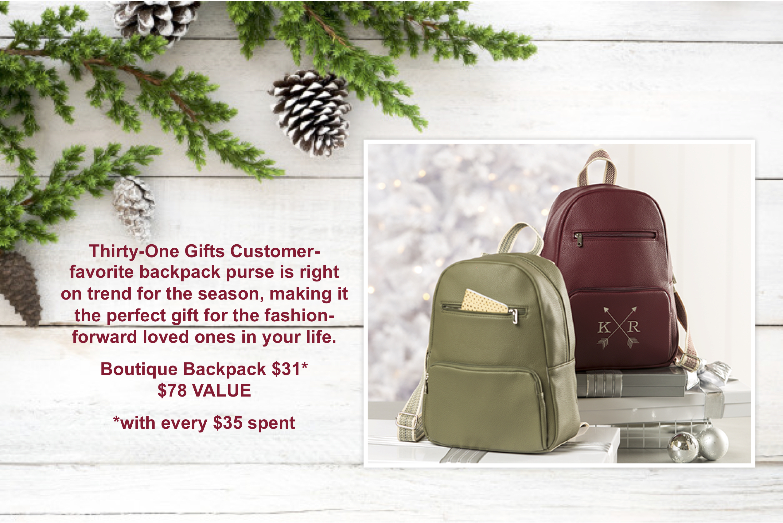 Thirty One Gifts Boutique Backpack Team Hillenburg