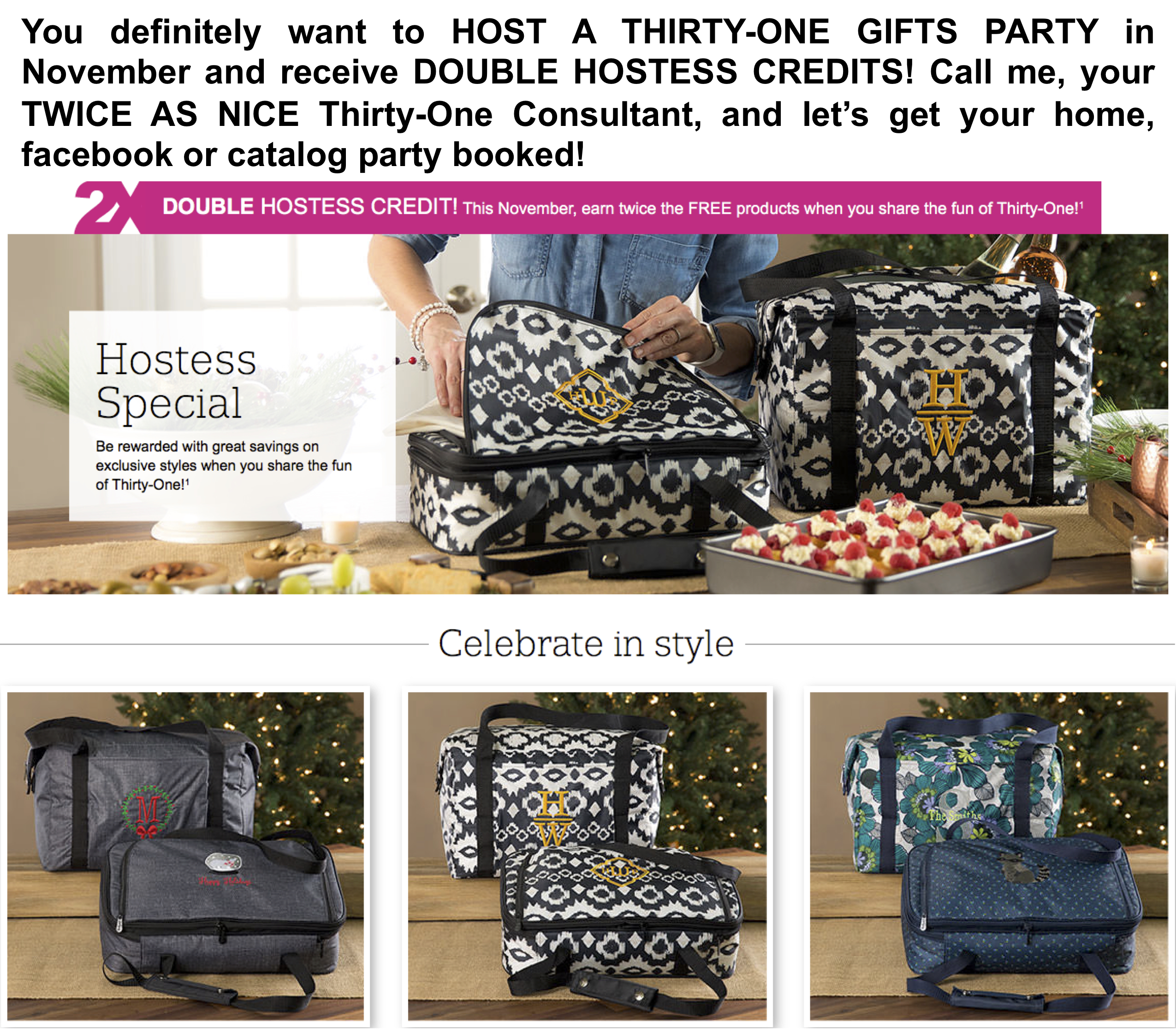 Thirty-One Gifts Double Hostess Credits